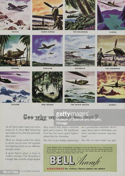 World War IIera color advertisement 'See Why We Build Them Fast' for Bell Aircraft showing images of different model fighter planes at different...