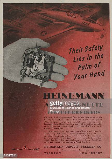 World War IIera color advertisement 'Their Safety Lies In The Palm Of Your Hands' for Heinemann Circuit Breaker Company which shows an Allied fighter...
