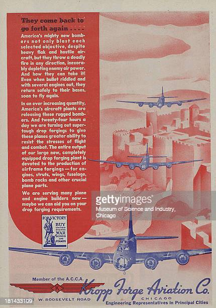 World War IIera color advertisement 'They Came Back To Go Forth Again' for Kropp Forge Aviation Company showing three American brand new four engine...