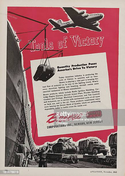 World War IIera color advertisement 'Tools Of Victory' for Breeze Mark with images of a four engine plane flying over head tanks and cargo trucks...