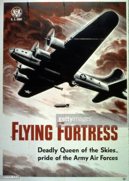 World War IIera poster features an illustration of a B17 Flying Fortress and text that reads 'Deadly Queen of the Skies…pride of the Army Air Forces'...