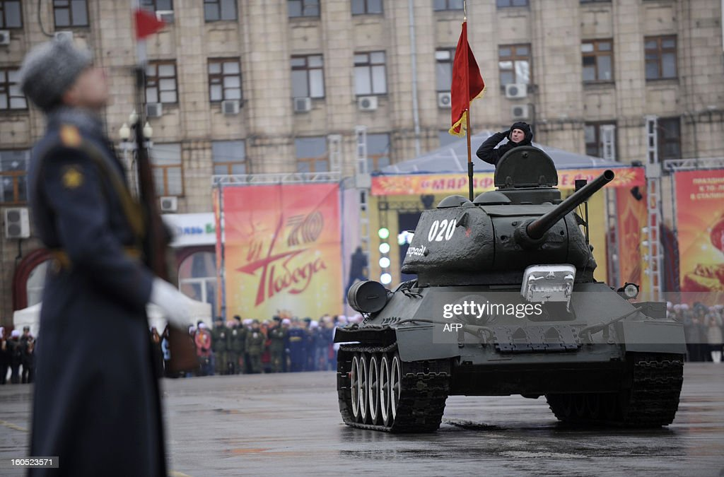 World War II-era Red Army's T-34-85 tank rolls during a military parade marking the 70th anniversary of the Stalingrad Battle, in the Russian city of Volgograd, formerly Stalingrad, on February 2, 2013. Russia marked today the 70th anniversary of a brutal battle in which the Red Army defeated Nazi forces and changed the course of World War II.