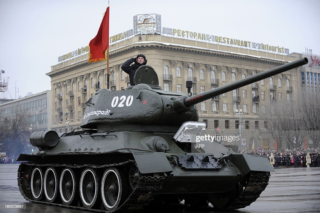 World War II-era Red Army's T-34-85 tank rolls during a military parade marking the 70th anniversary of the Stalingrad Battle, in the city of Volgograd, formerly Stalingrad, on February 2, 2013. Russia marked today the 70th anniversary of a brutal battle in which the Red Army defeated Nazi forces and changed the course of World War II. The pulverised city was renamed Volgograd in 1961 after Soviet leaders admitted the extent of Stalin's tyranny during his decades in power.