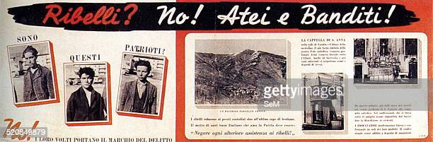 World War IIItalian Fascism Posters 1944 against the partisans presented as common criminals who prey on the peasants and desecrate the holy places...