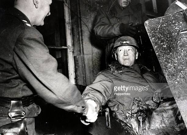 World War IILieutenant General George SPatton right greeted by MajorGeneral Robert WGrow France 10th November 1944