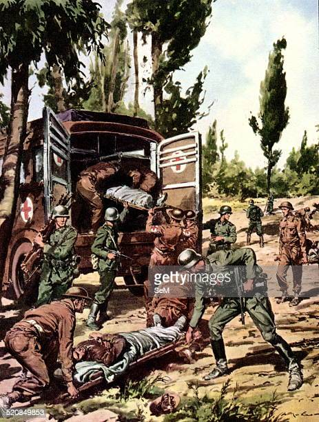 World War IIWar in Italy 1944 Battle of Anzio and Nettuno Ways to make war In the rear of the front of Nettuno German soldiers help British prisoners...