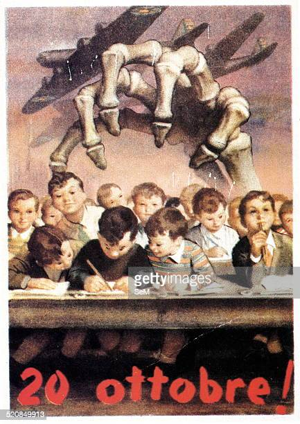World War IIWar in Italy 1944 Propaganda postcard commemorates the death of an entire class of children killed by an allied air raid