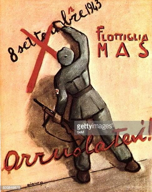 World War IIWar in Italy Fascism 1944 Postcard celebrates XMas Tenth Flotilla MAS The Decima Flottiglia MAS Decima Flottiglia Mezzi d'Assalto also...