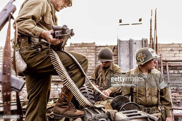 World War ll soldiers preparing for war.