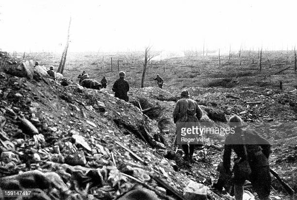 World War One Battle of Verdun Capture in the Ravin des Fontaines two Germans surrender upon seeing French grenadiers Douaumont October 22nd 1916