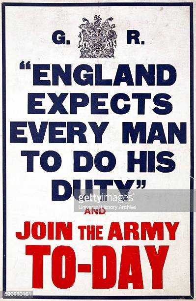 """World war One British recruitment poster """"ENGLAND EXPECTS EVERY MAN TO DO HIS DUTY"""" AND JOIN 1HE ARMY TODAY'' 1914"""