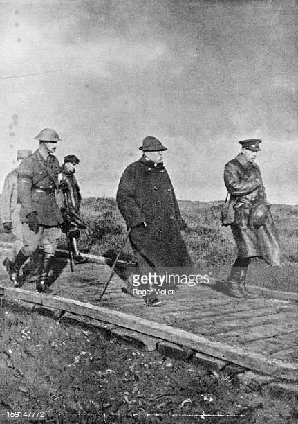 World War One Georges Clemenceau on the British front visiting the plateay of Vimy taken by the Canadians 9th April 1917