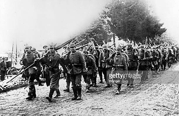 World War One German column marching towards Verdun February 1916