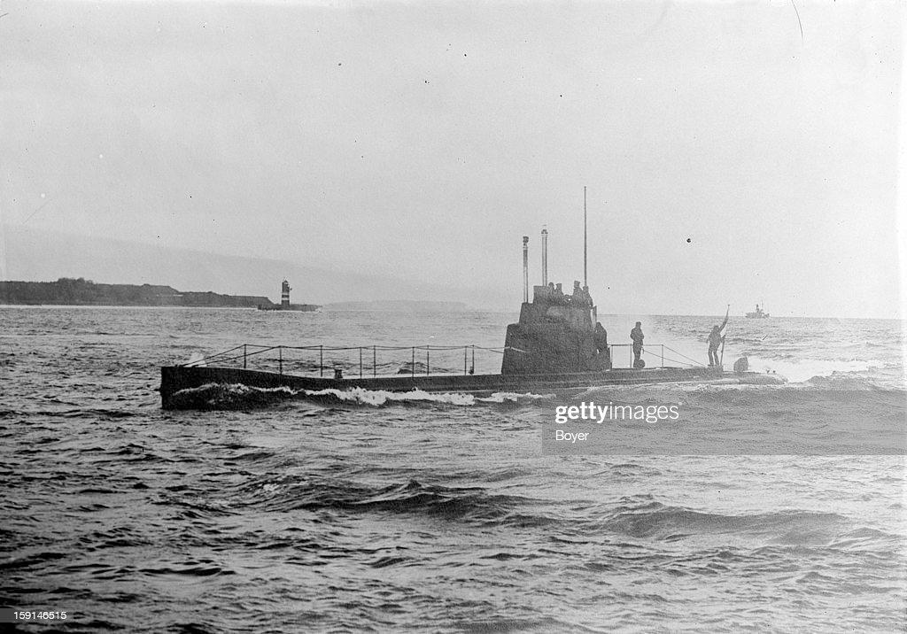 World War One German uboat in the the Kiel roads 1915