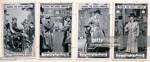 World war One national savings Stamps illustrating women at work for the war effort