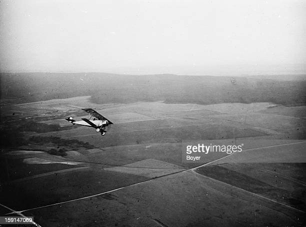 World War One Nieuport fighter plane flying seen from an other plane 1917