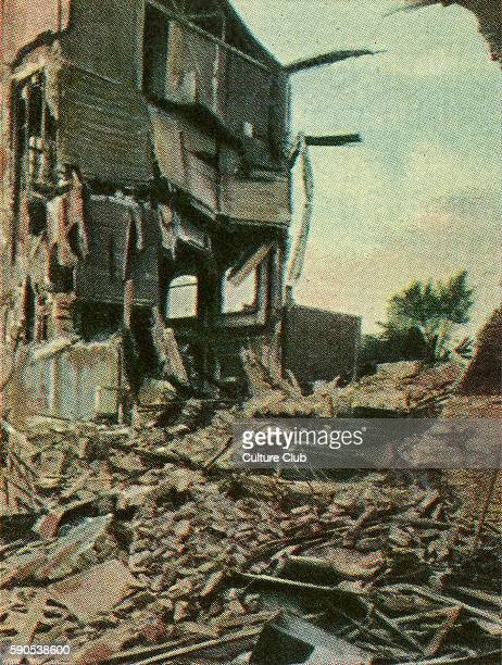 World War One ruins 4 storey apartment block destroyed by British 50 kg mine bomb Thrown from airship with delayed action detonator Cigarette cards...