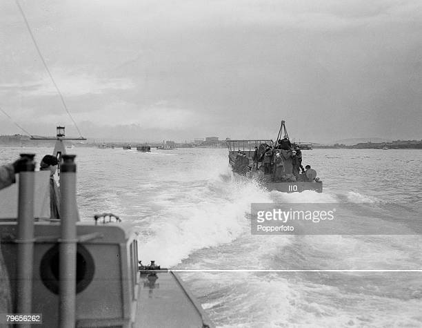 World War Two 28th April 1944 England Landing Craft practicing off the English coast in readiness for the forthcoming Normandy Invasion