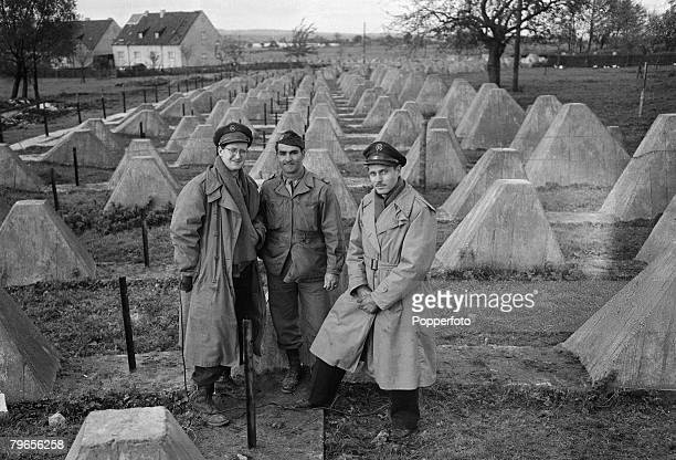 World War Two 2nd November 1944 Germany American war correspondents pictured at the Siegfried Line defences near Aachen