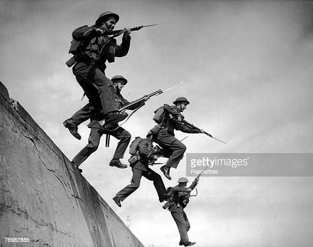 World War Two England 9th August Royal Marines of the Britsh Navy Forces carrying out a bayonet charge during training exercises in their role of...