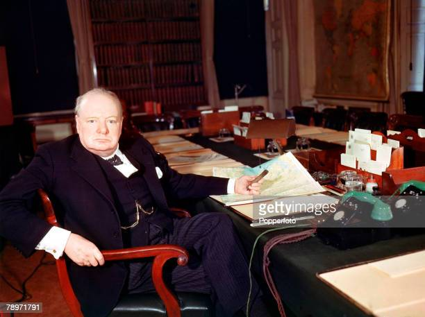 World War Two London England March 1945 British Prime Minister Winston Churchill at his desk
