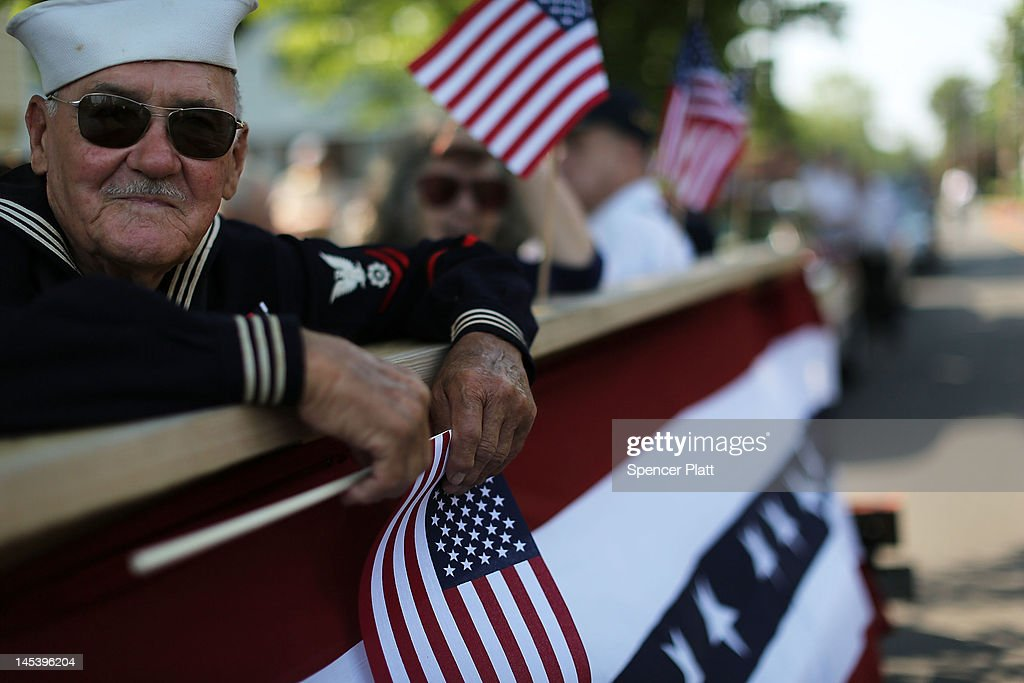 World War Two Navy veteran Edward Sabo rides on a float in the annual Memorial Day Parade on May 28, 2012 in Fairfield, Connecticut. Across America towns and cities will be celebrating veterans of the United States Armed Forces and the sacrifices they have made. Memorial Day is a federal holiday in America and has been celebrated since the end of the Civil War.