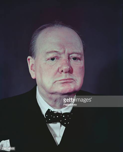 World War Two Portrait of a stern faced British Prime Minister Winston Churchill
