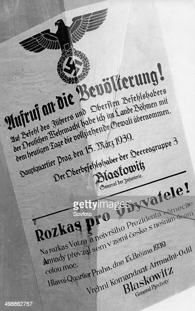World War Two The German occupation of Bohemia and Moravia on March 15 1939 A bilingual order by the CommanderinCheif Blaskowitz announcing to the...