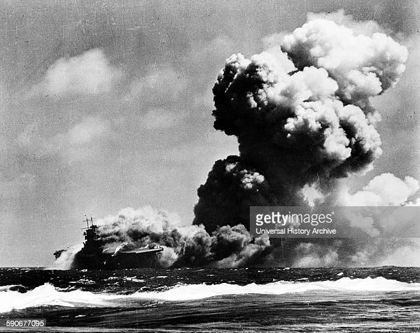 USS Wasp CV 7 burning after being hit by torpedoes from a Japanese submarine Sep 1942