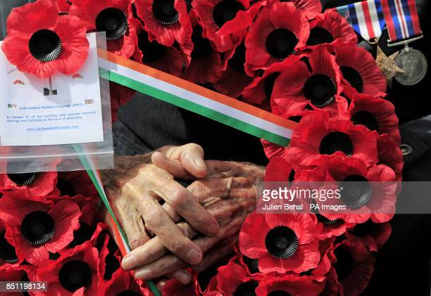 World War Two veteran and pardoned Irish soldier 92 yearold Phillip Farrington at the Irish National War Memorial at Islandbridge Dublin during a...