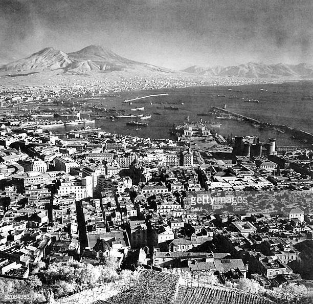 World WarItaly World War IIWar in Italy October 1943 View of the city of Naples with Mount Vesuvius in the background