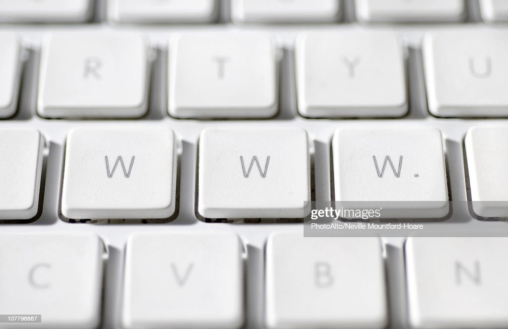 World wide web abbreviated as 'www.' on laptop computer keyboard : Stock Photo
