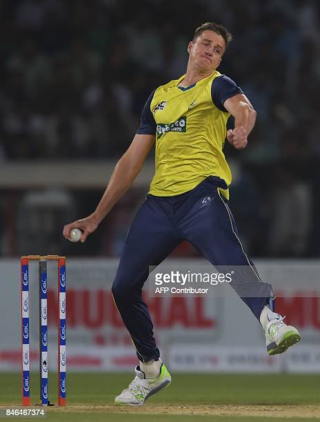 World XI bowler Morne Morkel delivers the ball during the second Twenty20 International match between the World XI and Pakistan at the Gaddafi...