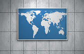Worldmap with needles in capital cities