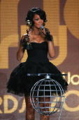 World's Best Selling Pop Female Artist Rihanna holds her award at the World Music Awards 2007 at the Monte Carlo Sporting Club on November 4 2007 in...