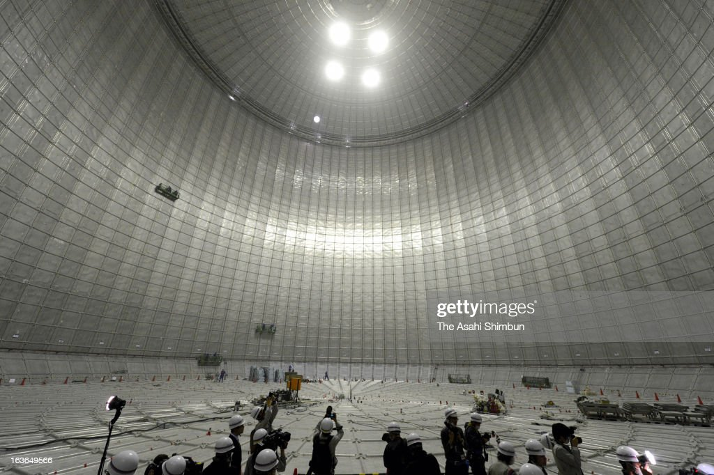 World's largest underground liquefied natural gas (LNG) tank, under construction by Tokyo Gas, is open for the press on March 13, 2013 in Yokohama, Kanagawa, Japan. The 72-meter in internal diameter and 61.7-meter high tank enables to store 250,000-kiloliter of LNG, can provide 360,000 households in Tokyo metropolitan area for an year. The tank will be in operation from November 2013.
