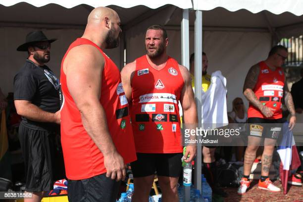 World's strongest man American athlete Brian Shaw British athlete Terry Hollands and other international athletes get prepared before the truckpull...