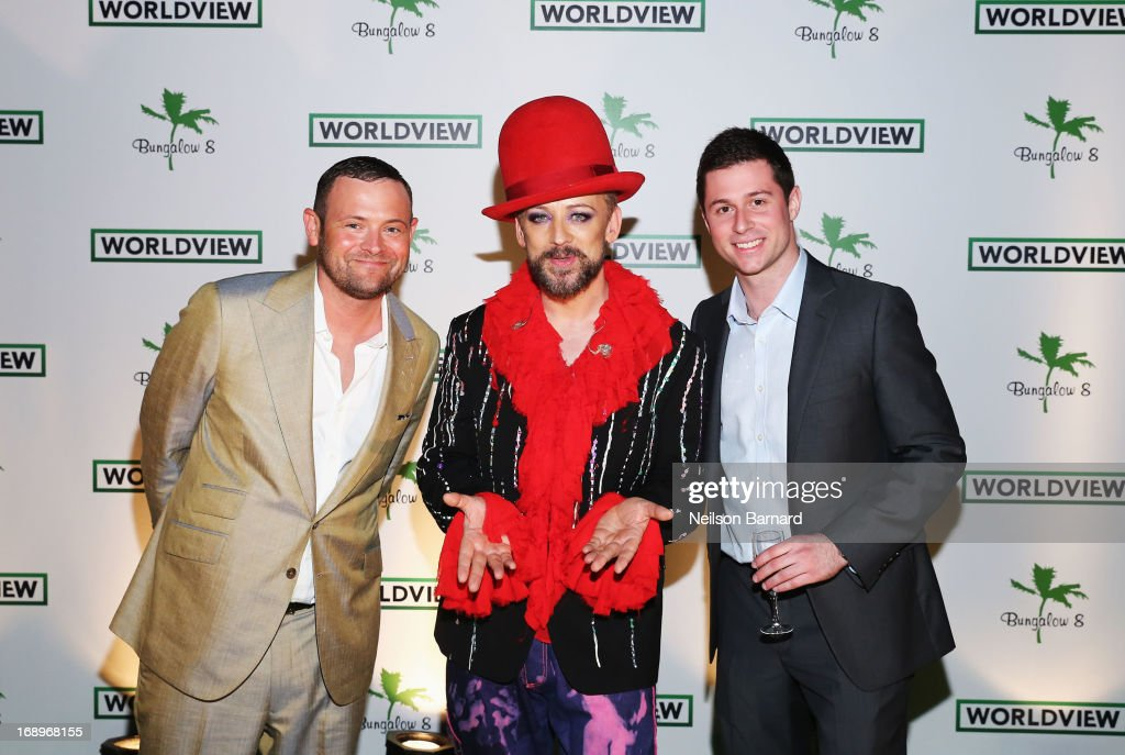 Worldview CEO Christopher Woodrow, musician <a gi-track='captionPersonalityLinkClicked' href=/galleries/search?phrase=Boy+George&family=editorial&specificpeople=203135 ng-click='$event.stopPropagation()'>Boy George</a> and Ethan Lazar attend the Worldview Entertainment Cannes Celebration during the 66th Annual Cannes Film Festival at Carlton Beach Club on May 17, 2013 in Cannes, France.