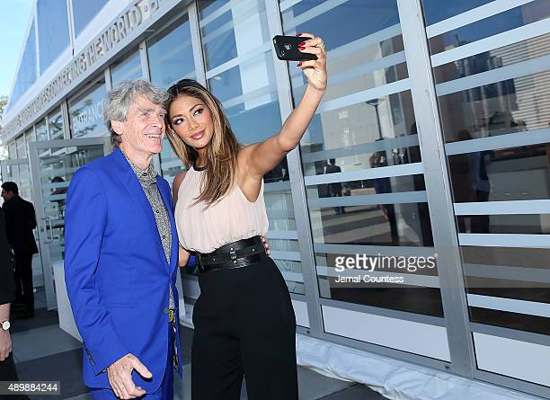 Worldwide Creative Director and Founder of the BBC Sir John Hegarty and singer/actress Nicole Scherzinger take a selfie prior to the premiere of...