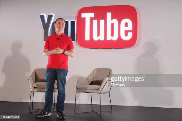 Worldwide EVP Head of Digital Joshua Lowcock speaks on stage at the YouTube @ VidCon Brand Lounge at Anaheim Convention Center on June 22 2017 in...
