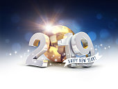 Happy New Year greeting and silver date 2019 composed with a gold planet earth, on a glittering background - 3D illustration