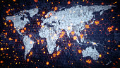 A world map outline with glowing nuclear warning symbol scattered around. The world map is very dirty and scratched with glowing particles of dust exploding outward.