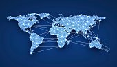 World-wide web on blue background (done in 3d)