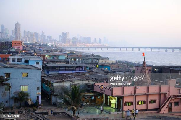 Worli area of Mumbai Worli Fishing Village and skyscrapers in Mumbai on March 15 2014 in Mumbai India