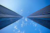 Worm's eye view of the Century City Towers in Los Angeles, California