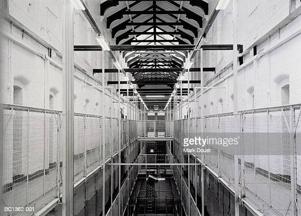 Wormwood Scrubs Prison, interior, London, England (B&W)