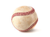 worn baseball isolated on white background, sport
