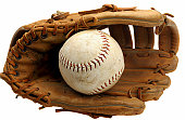 Worn Baseball Mitt and Ball