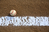 Worn Baseball near the Infield Chalk Line with room for copy