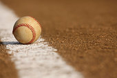 Worn Baseball on the Infield Chalk Line with room for copy